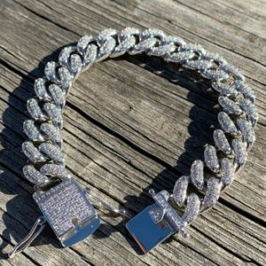 Silver Cuban diamond link chain bracelet